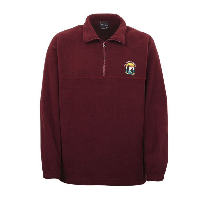 Schooltex Huia Range Polar Fleece Top with Embroidery, Maroon, hi-res