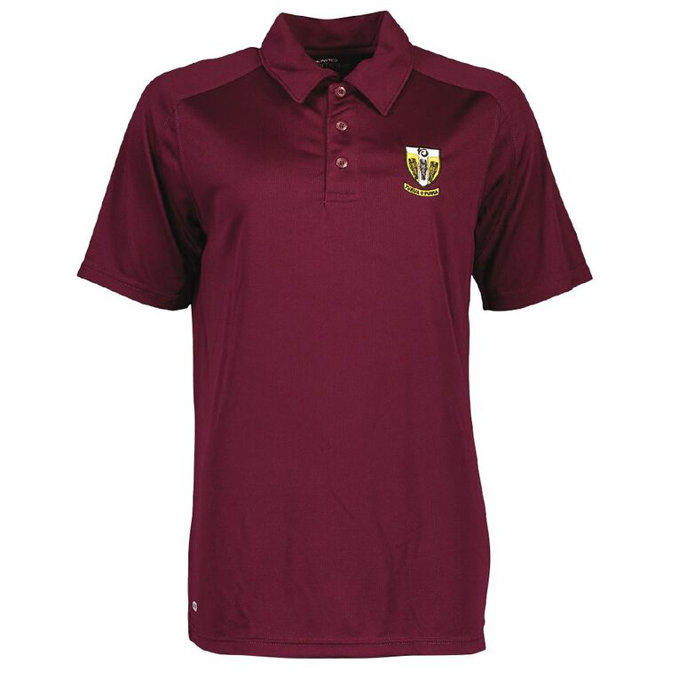 Schooltex Tikipunga High Short Sleeve Polo with Embroidery, Maroon, hi-res