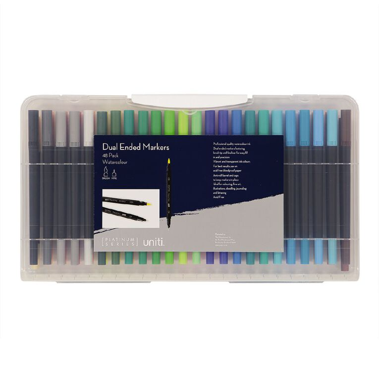 Uniti Watercolour Dual Ended Markers 48 Pack, , hi-res