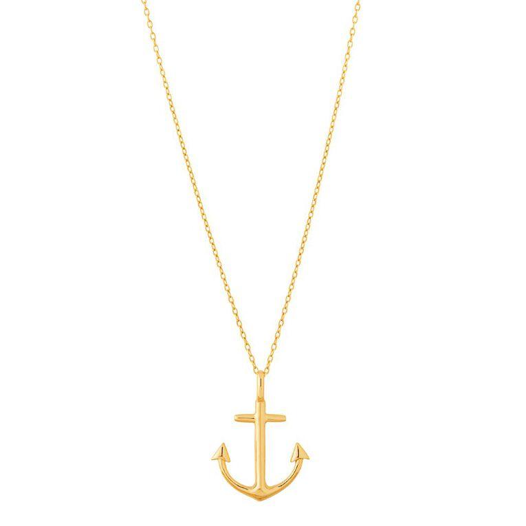 9ct Gold Anchor Pendant, , hi-res