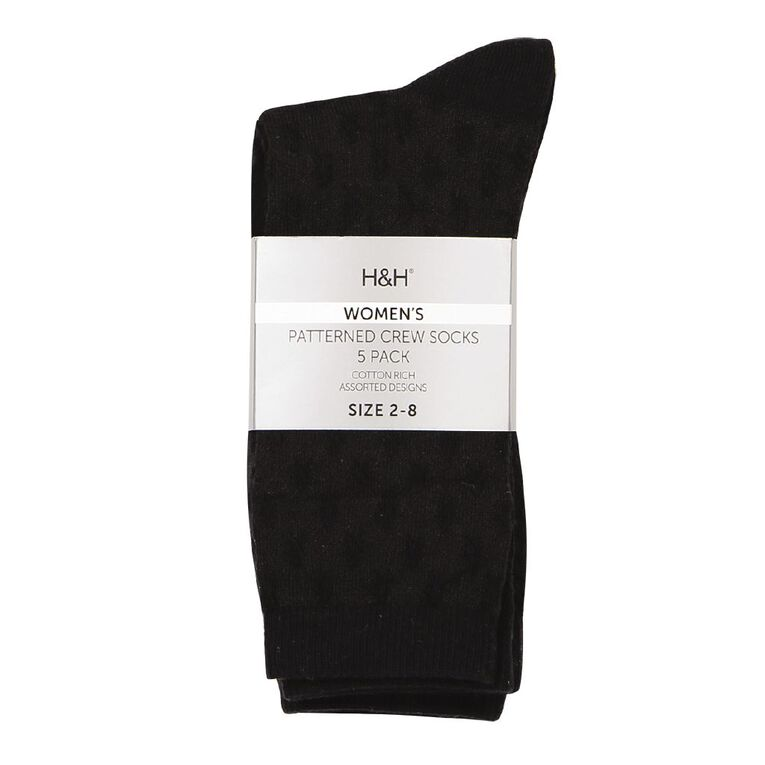 H&H Women's Crew Socks 5 Pack, Black, hi-res image number null