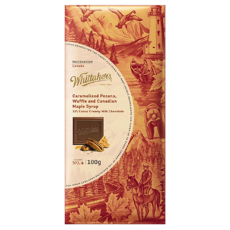 Whittaker's Destination Milk Chocolate Pecans Canadian Maple Syrup 100g, , hi-res