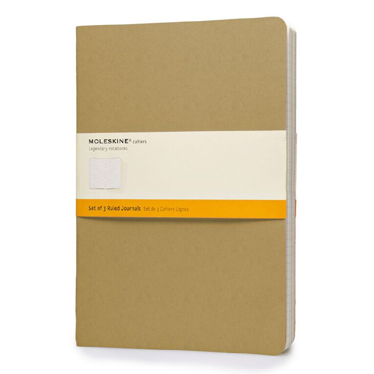 Moleskine Cahier Extra Large Notebook Ruled Kraft 3 Pack, , hi-res