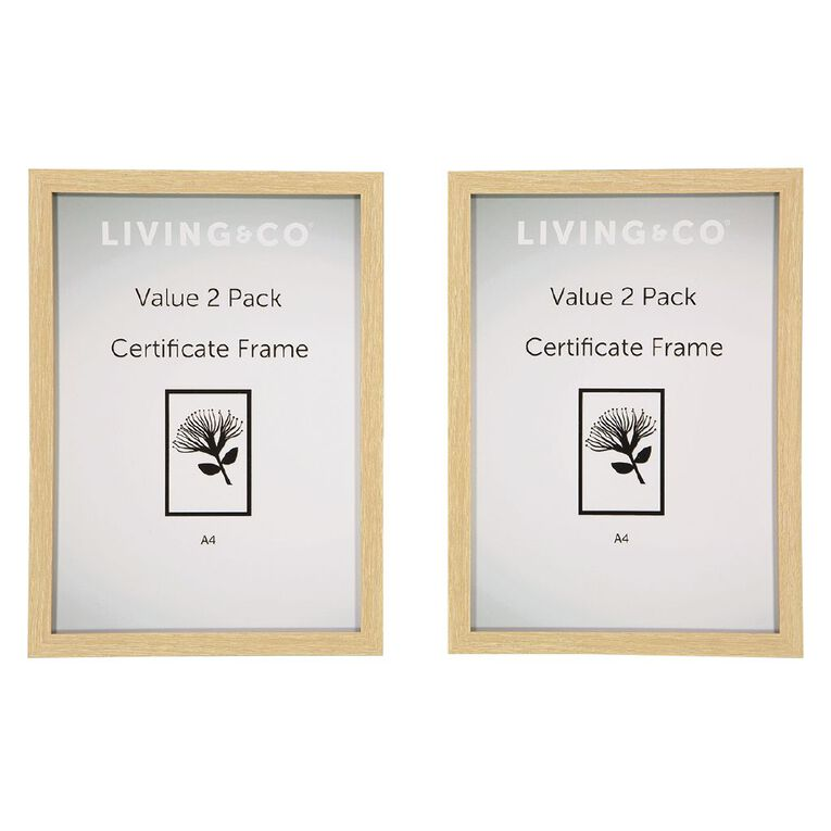 Living & Co Value Certificate Frame 2 Pack Natural A4, Natural, hi-res