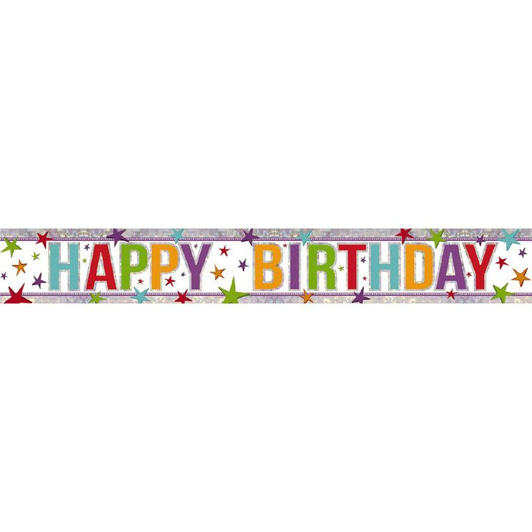 Amscan Happy Birthday Banner Holographic Multi-colour 2.7m, , hi-res