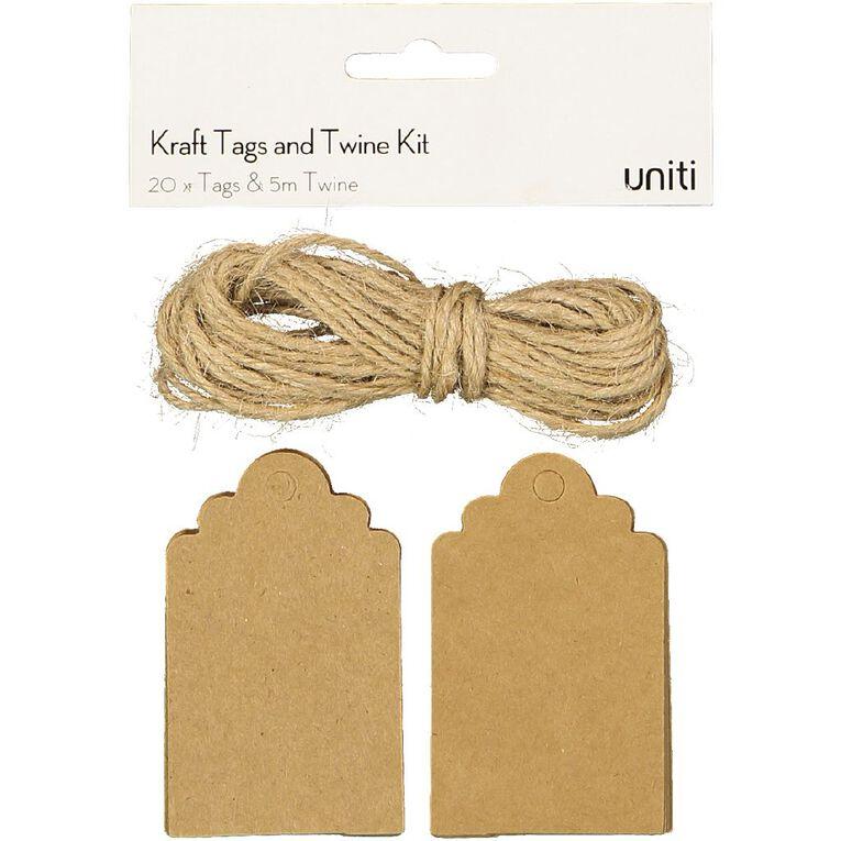 Uniti Tags And Twine Kit Kraft, , hi-res
