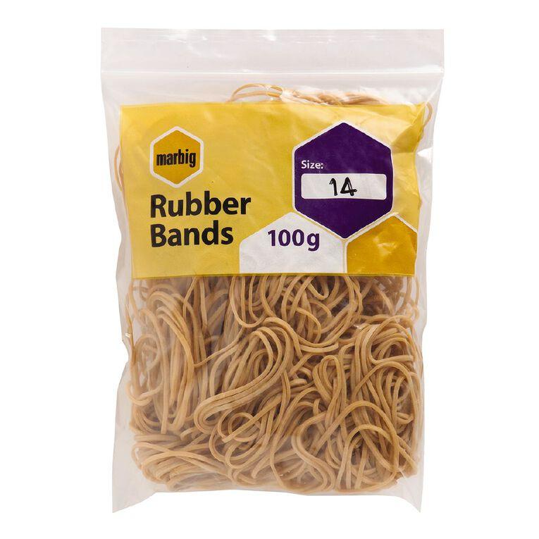 Marbig Rubber Bands 100g Pocket #14 Brown, , hi-res