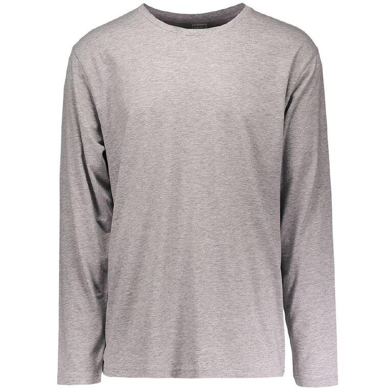 H&H Men's Crew Neck Long Sleeve Plain Tee, Grey, hi-res image number null