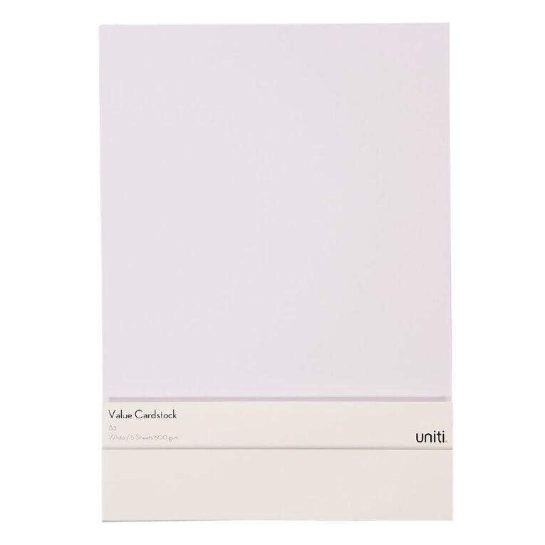 Uniti Value Cardstock A3 600gsm 5 Sheets White, , hi-res