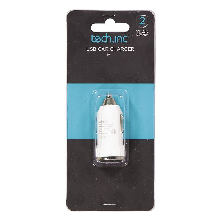 Tech.Inc USB Car Charger 1A White, , hi-res