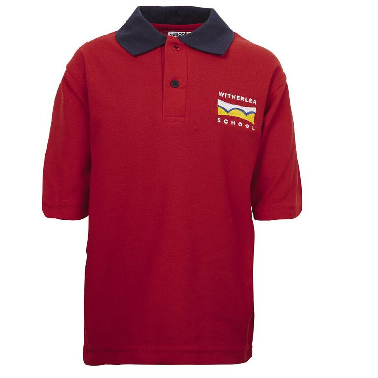 Schooltex Witherlea Short Sleeve Polo with Embroidery, Red/Navy, hi-res