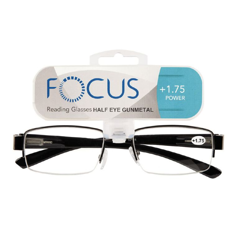 Focus Reading Glasses Half Eye Gunmetal 1.75, , hi-res