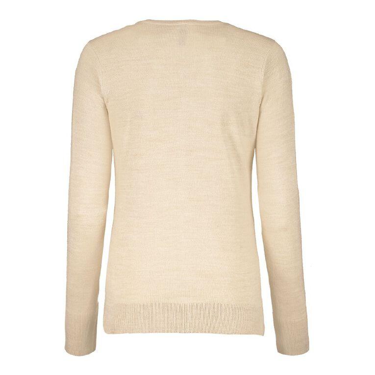 H&H Women's Button Through Cardigan, Cream, hi-res image number null