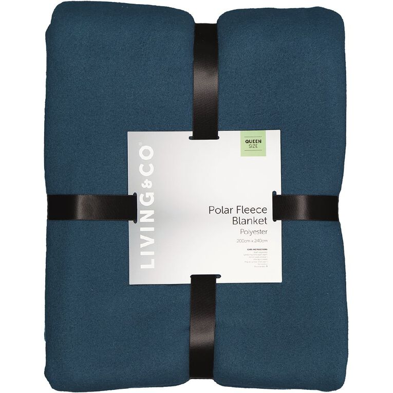 Living & Co Blanket Polar Fleece Teal Queen, Teal, hi-res image number null