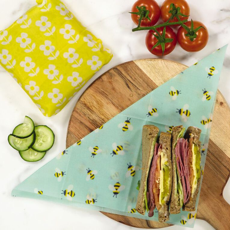 Living & Co Bees Wax Food Wraps Floral Lunch Set 2 Pack, , hi-res