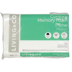 Living & Co Pillow Contour Memory Foam White 60cm x 40cm