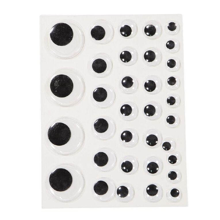 Kookie Adhesive Wiggly Eyes 2 Sheets Large, , hi-res