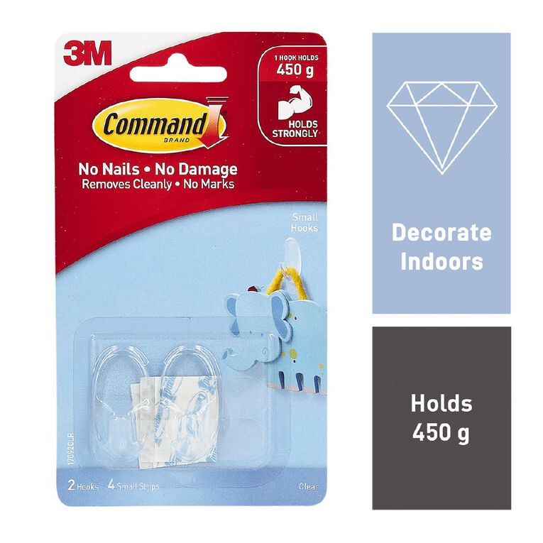 Command Hooks with Strips Clear Small, , hi-res