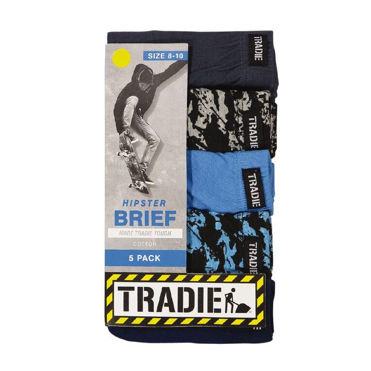 Tradie Boys' Brief 5 Pack, Navy/Red, hi-res