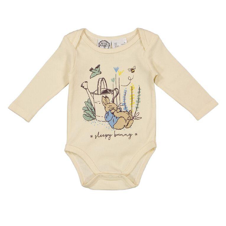 Peter Rabbit Long Sleeve 3 Pack Bodysuits, Cream, hi-res