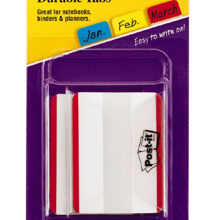 Post-It Durable Filing Tabs 686F-50Rd 50.8mm x 38.1mm Red, , hi-res