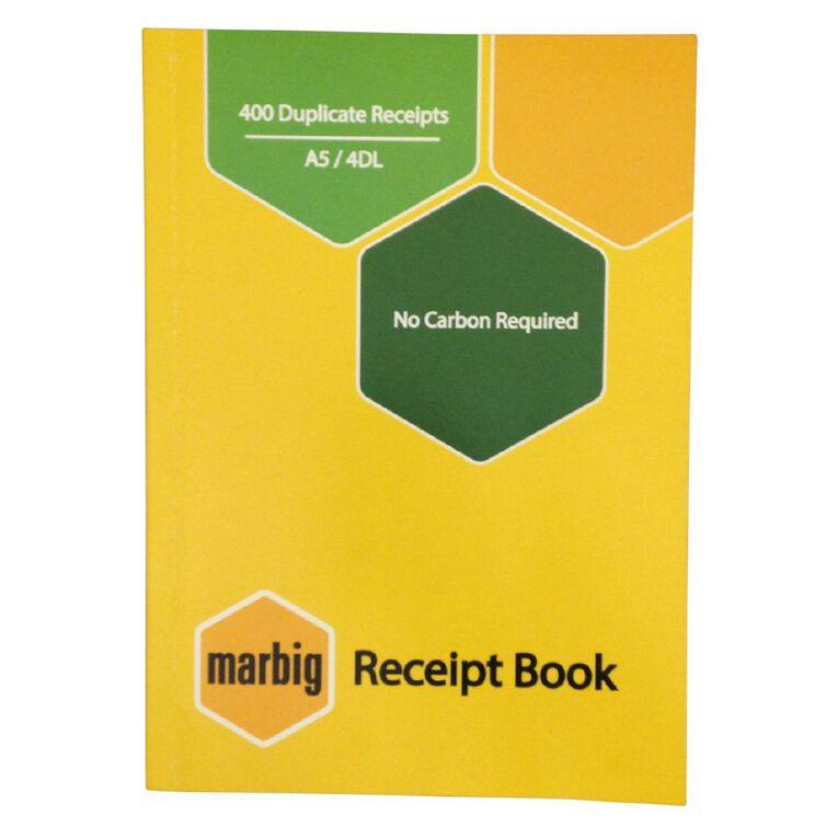 Marbig Receipt Book 4-Up 400R Duplicate Yellow A5, , hi-res