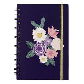 Uniti Blossom Spiral Notebook Hardcover Flowers Navy A5