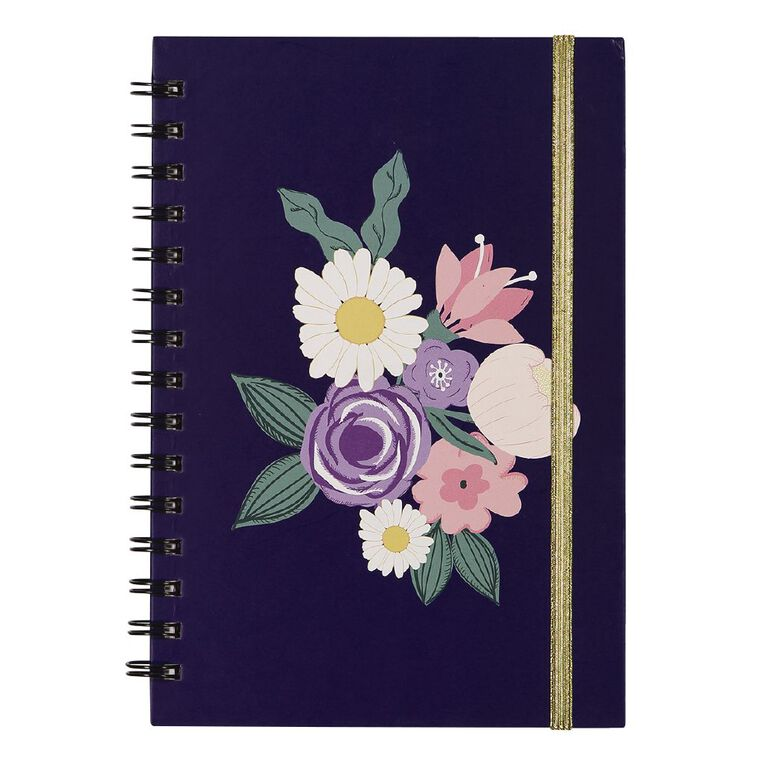 Uniti Blossom Spiral Notebook Hardcover Flowers Navy A5, , hi-res