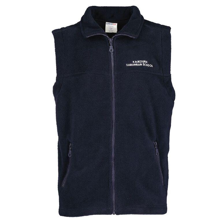 Schooltex Kaikoura Suburb Polar Fleece Vest with Embroidery, Navy, hi-res