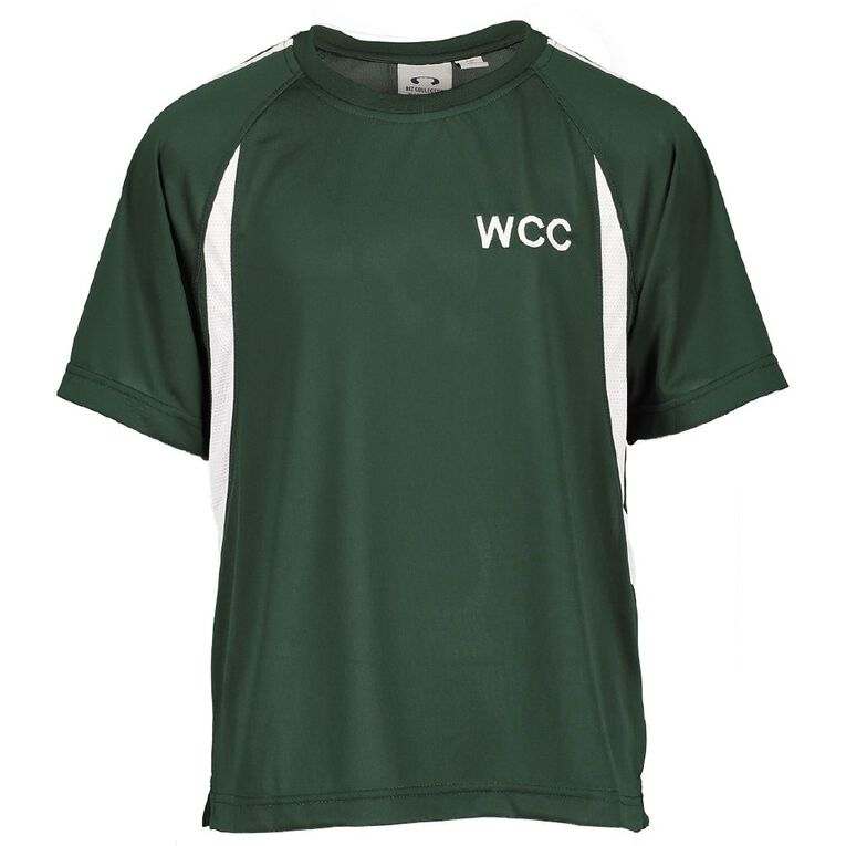 Schooltex William Colenso College PE Top with Embroidery, Forest/White, hi-res