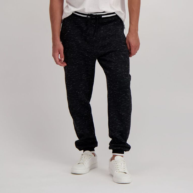 Garage Men's Space Dye Trackpants, Black/White, hi-res