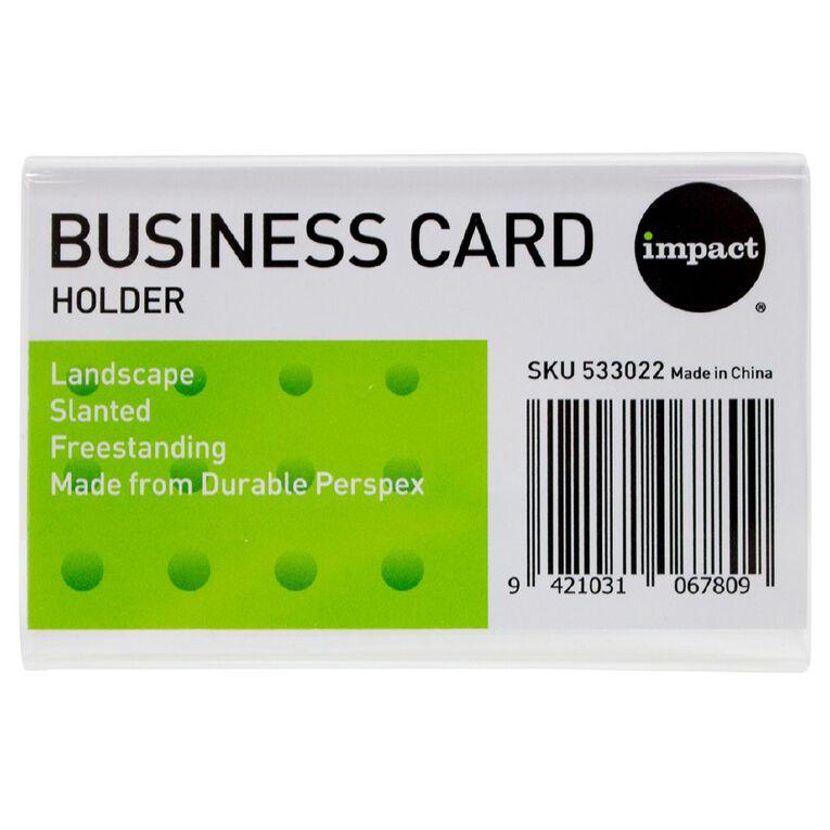 Impact Slanted Landscape Business Card Clear, , hi-res