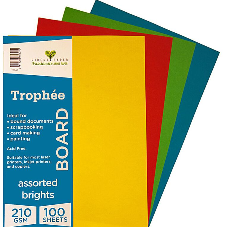 Trophee Board 210gsm 100 Pack Brights Assorted A4, , hi-res