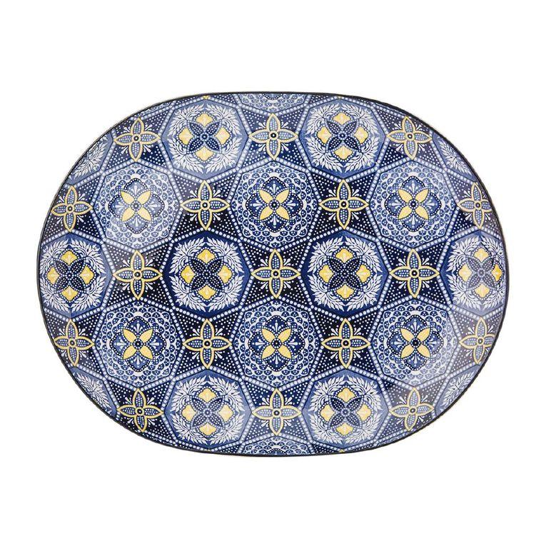 Living & Co Global Moroccan Floral Serving Platter Multi-Coloured 35cm, , hi-res