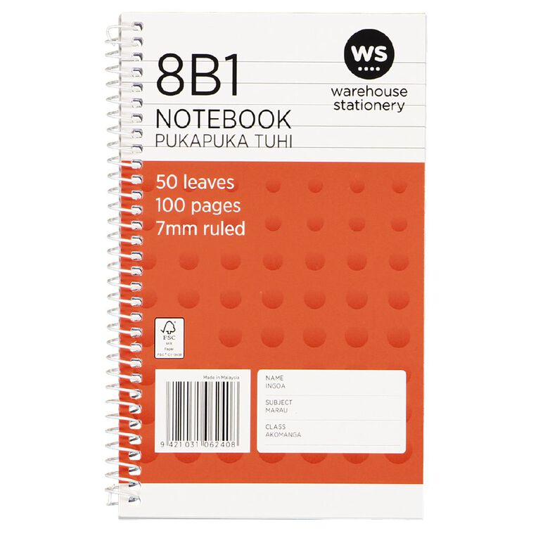 WS Notebook 8B1 7mm Ruled Spiral 50 Leaf Orange, , hi-res image number null