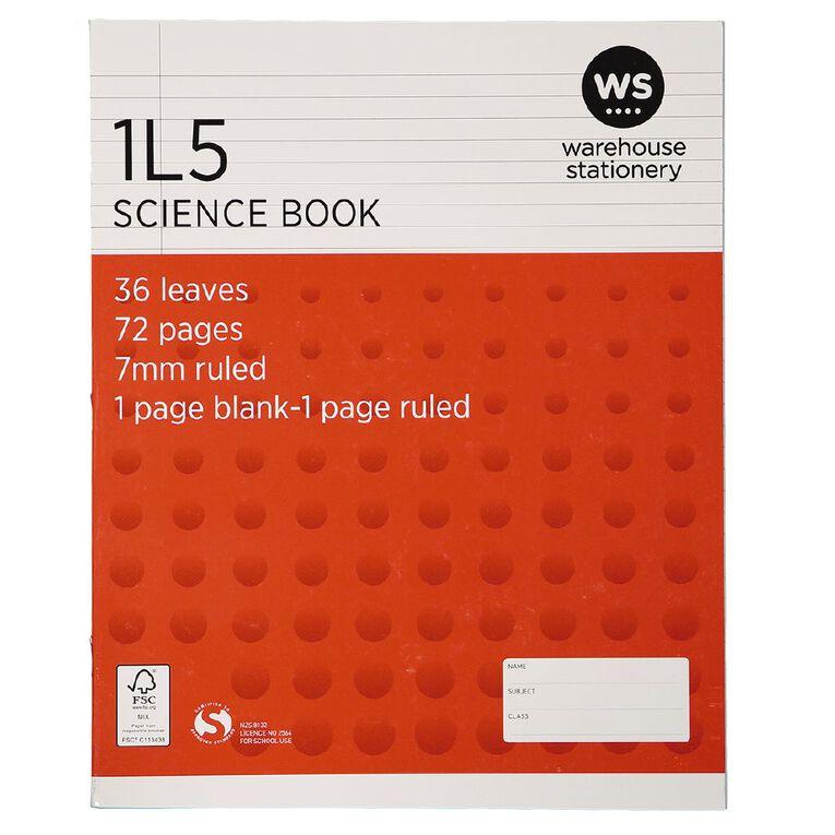 WS Exercise Book 1L5 7mm Ruled 36 Leaf Red, , hi-res