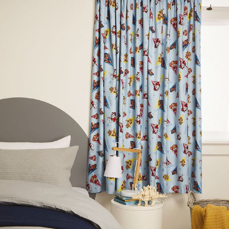 Paw Patrol Curtains Blockout M1 Blue 150-230cm Wide/160cm Drop, Blue, hi-res