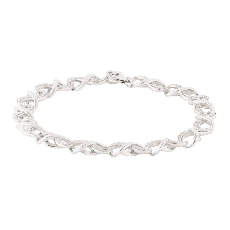 Sterling Silver Diamond Link Bracelet 19.5cm, , hi-res