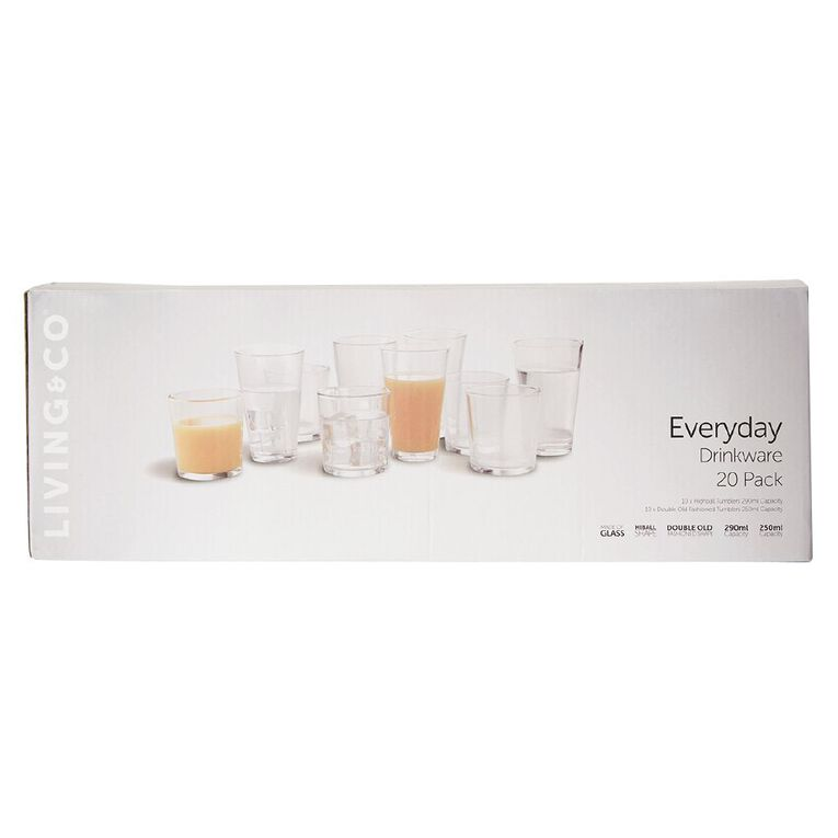 Living & Co Everyday Drinkware 20 Pack, , hi-res