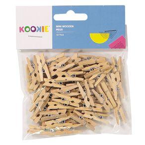 Kookie Mini Wooden Pegs Brown 50 Pack