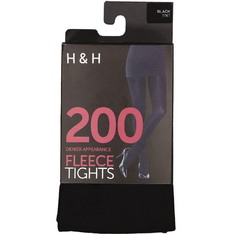 H&H Women's Opaque 200D Fleece Tights, Black, hi-res