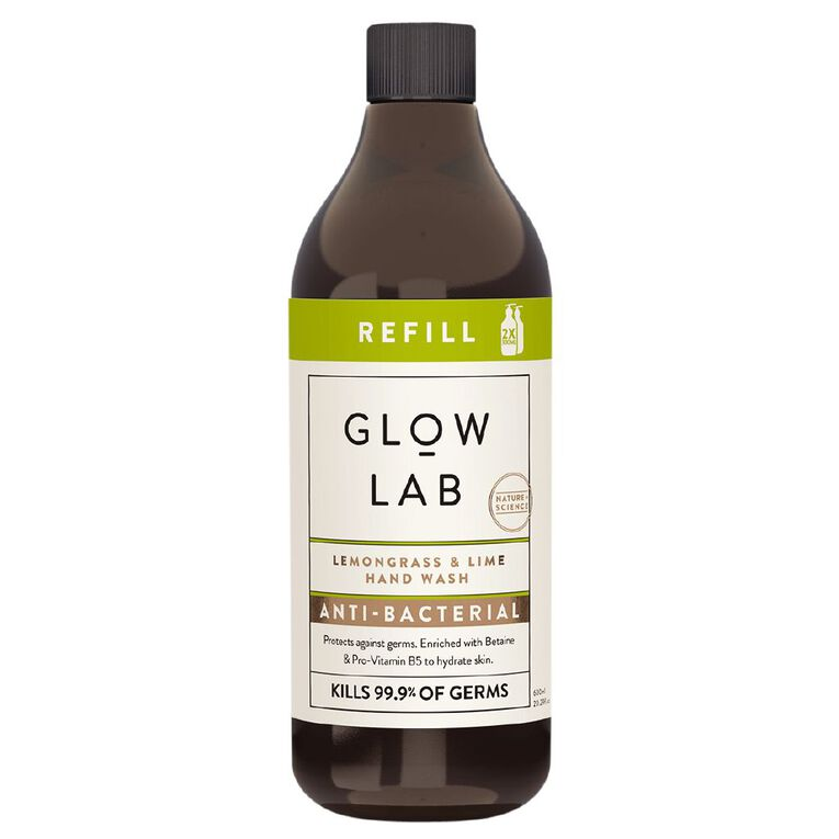 Glow Lab Hand Wash Antibacterial Refill Lemongrass & Lime 600ml, , hi-res