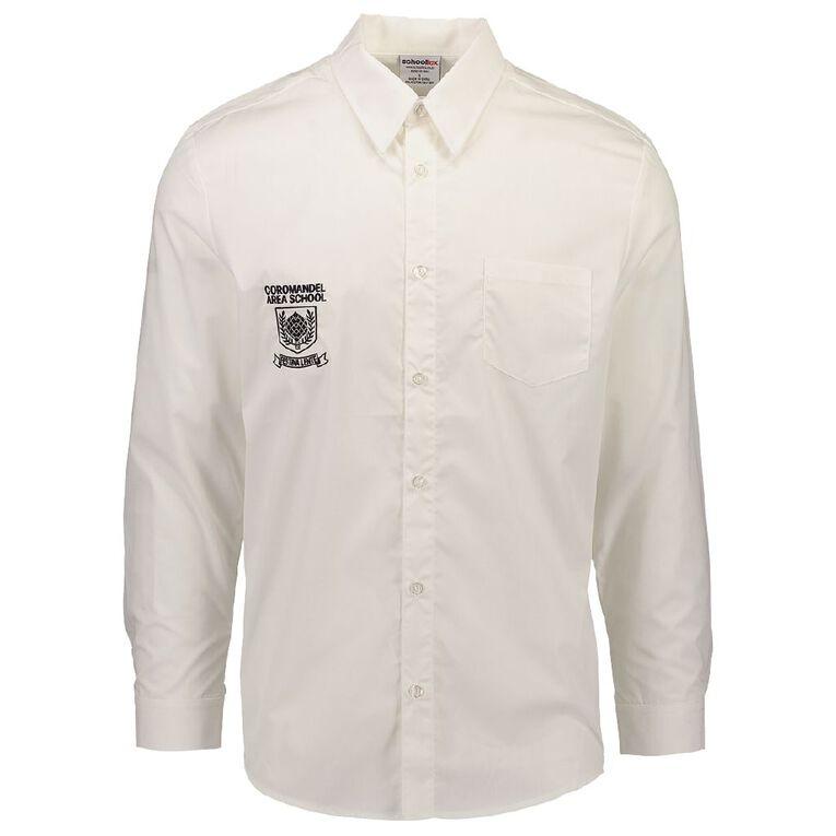 Schooltex Coromandel Area School Long Sleeve Shirt, White, hi-res