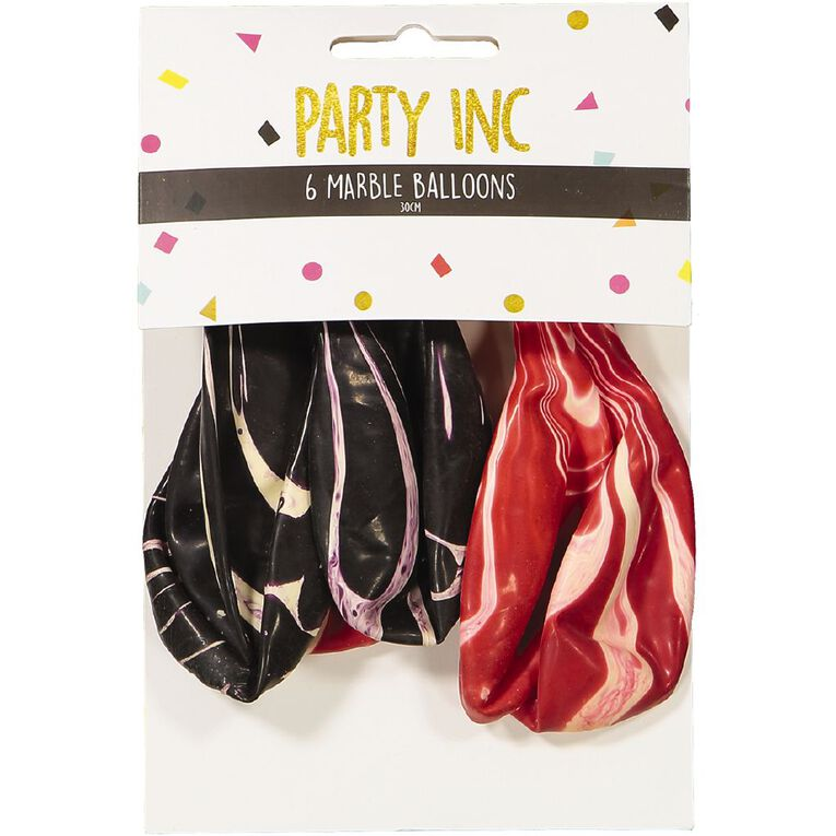 Party Inc Marble Balloons 30cm 6 Pack, , hi-res