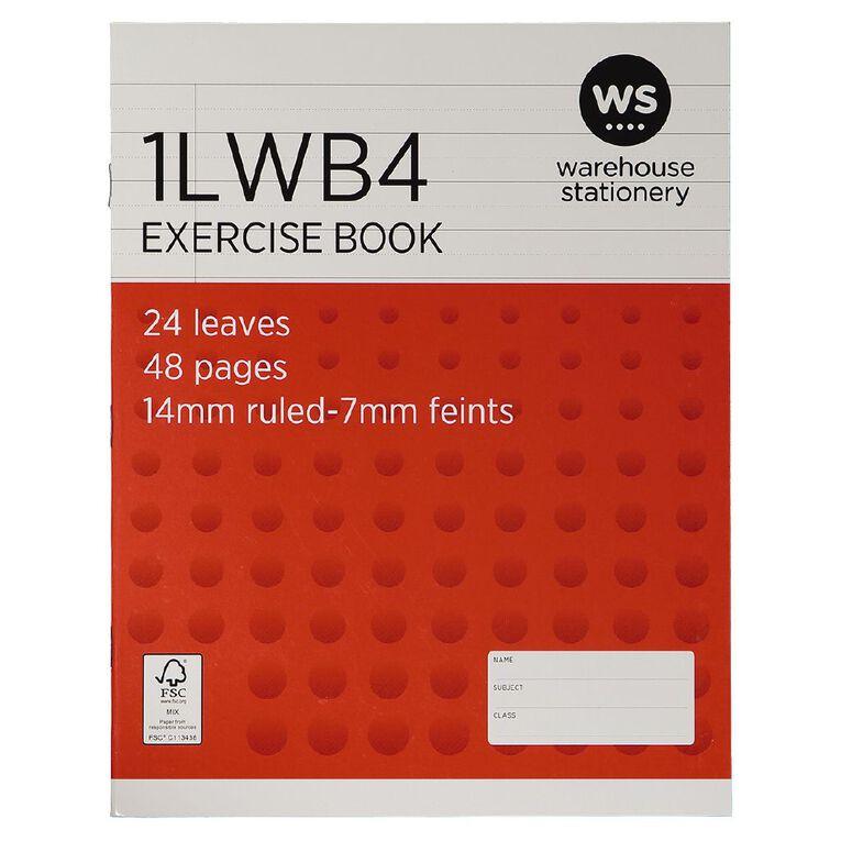 WS Exercise Book 1LWB4 7mm/14mm Ruled 24 Leaf, , hi-res