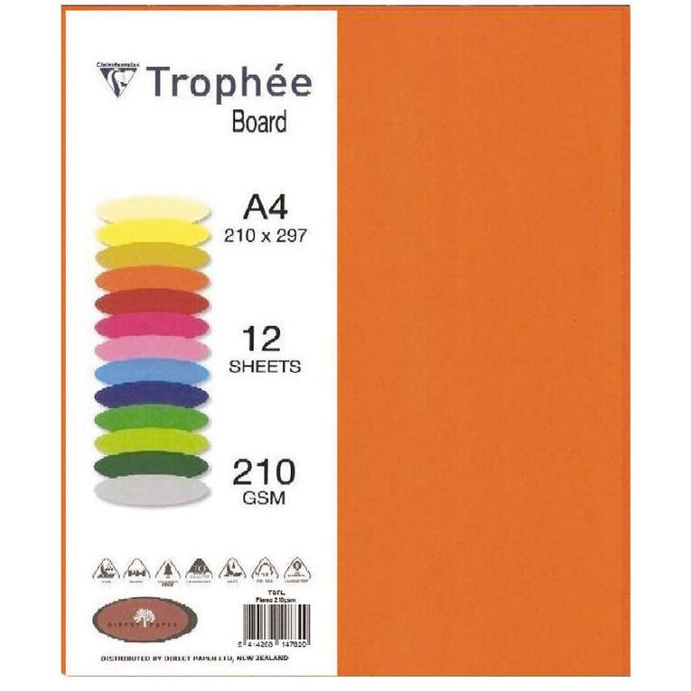 Trophee Board 210gsm 12 Pack Flame Red A4, , hi-res