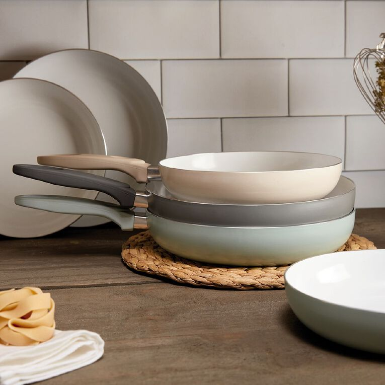 Living & Co Ceramic Frypan Ivory 24cm, , hi-res
