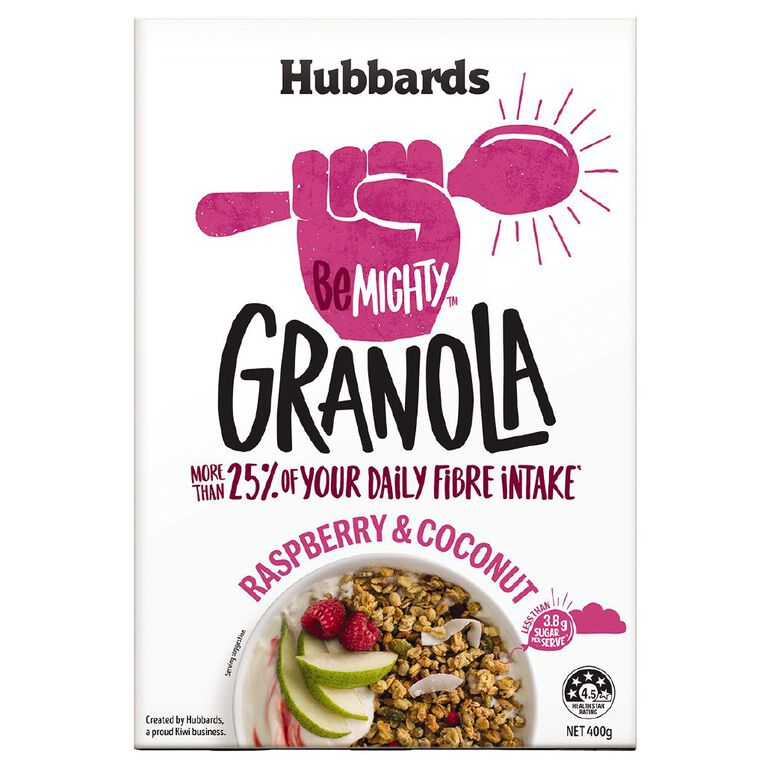 Hubbards Be Mighty Raspberry and Coconut 400g, , hi-res