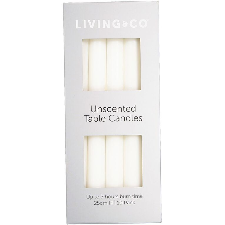 Living & Co Unscented Table Candles 25cm White 10 Pack, , hi-res