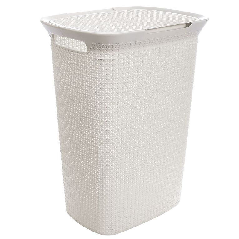 Living & Co Laundry Hamper White 57L, , hi-res